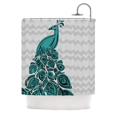 Peacock Shower Curtain Color: Blue