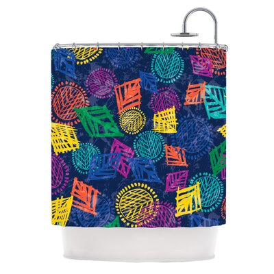African Beat Shower Curtain Color: Blue