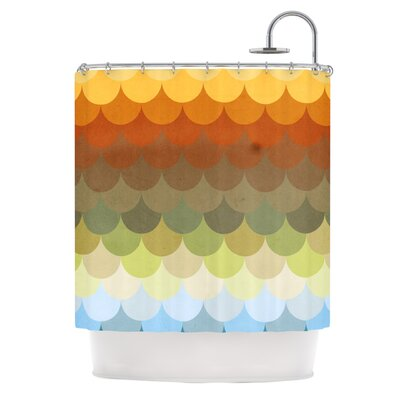 Half Circles Waves Shower Curtain
