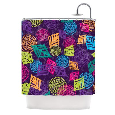 African Beat Shower Curtain Color: Purple