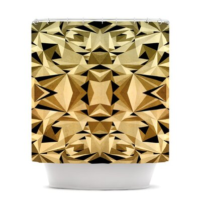 Abstraction Shower Curtain Color: Gold and Black