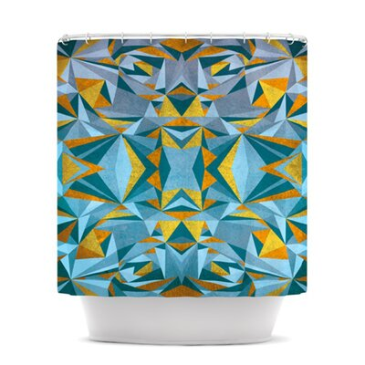 Abstraction Shower Curtain Color: Blue and Gold