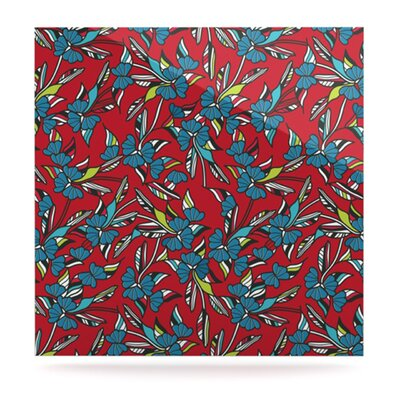 """Kess InHouse Paper Leaf by Michelle Drew Graphic Art Plaque - Size: 8"""" H x 8"""" W, Color: Red"""