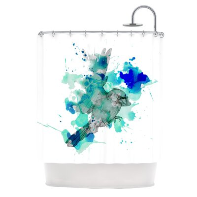 A Cardinal in Blue Shower Curtain