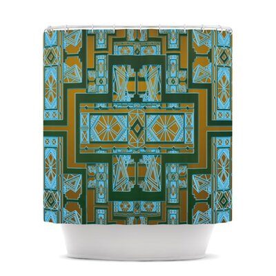 Golden Art Deco Shower Curtain Color: Green and Blue