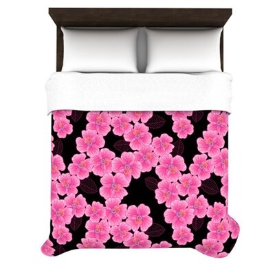 Pink on Black by Julia Grifol Woven Duvet Cover Size: Queen