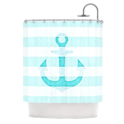 Stone Vintage Anchor Shower Curtain Color: Aqua