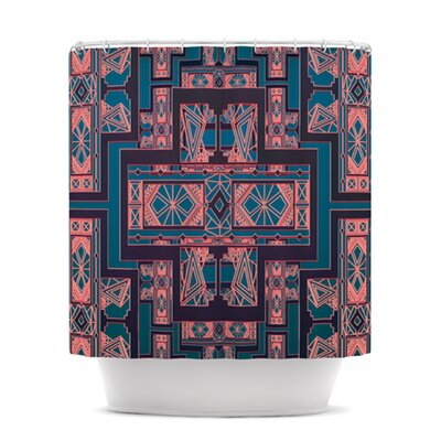 Golden Art Deco Shower Curtain Color: Blue and Coral