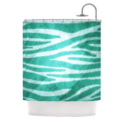 Zebra Texture Shower Curtain Color: Blue