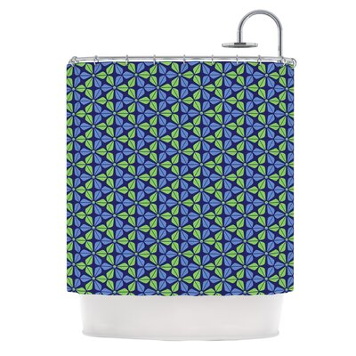 Infinite Flowers Shower Curtain Color: Blue