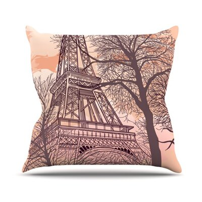Eiffel Tower Throw Pillow Size: 18 H x 18 W