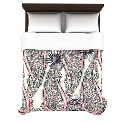 Inky Paisley Bloom Woven Comforter Duvet Cover Size: King