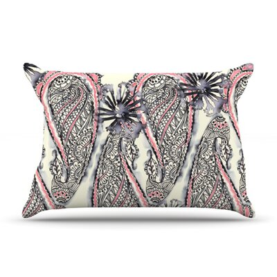 Inky Paisley Bloom Pillow Case Size: Standard