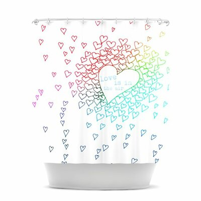 Rainbow Hearts Shower Curtain