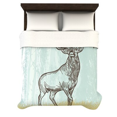 Elk Scene Woven Comforter Duvet Cover Size: Twin