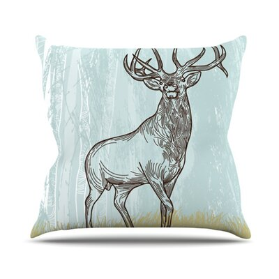 Elk Scene Throw Pillow Size: 16 H x 16 W