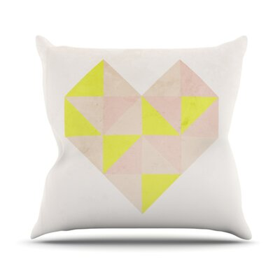 Geo Heart Throw Pillow Color: Pink, Size: 26 H x 26 W