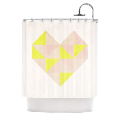 Geo Heart Shower Curtain Color: Pink