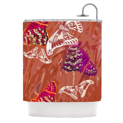 Butterflies Party Shower Curtain Color: Orange