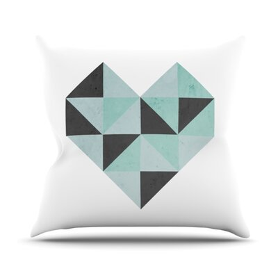 Geo Heart Throw Pillow Size: 18 H x 18 W, Color: Blue