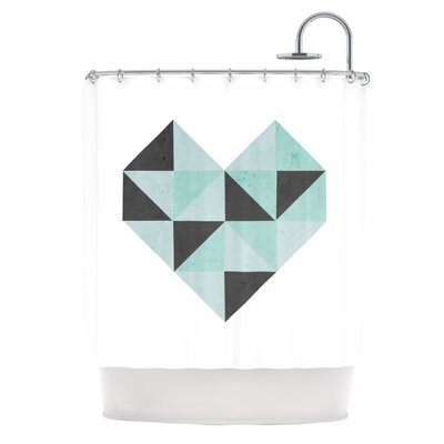 Geo Heart Shower Curtain Color: Blue