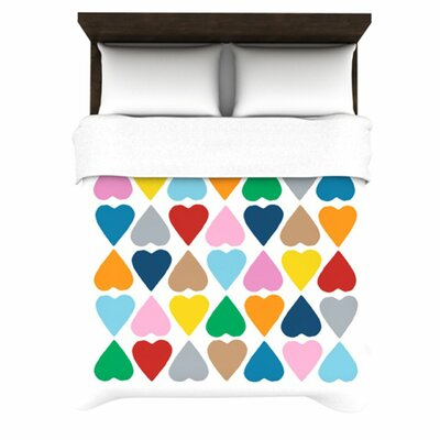 Diamond Hearts by Project M Woven Duvet Cover Size: Queen