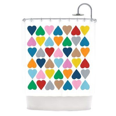 Diamond Hearts Shower Curtain Color: Multi