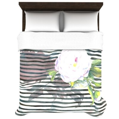 Peony N White Black Woven Comforter Duvet Cover Size: Twin