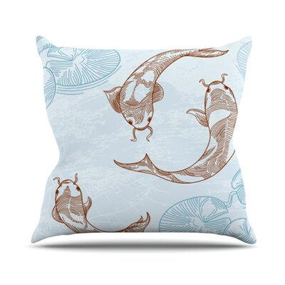 Koi Throw Pillow Size: 18 H x 18 W