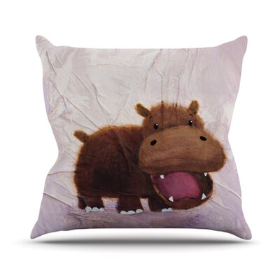 The Happy Hippo Throw Pillow Size: 20 H x 20 W