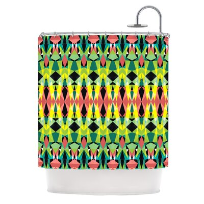 Triangle Visions Shower Curtain Color: Green/Yellow