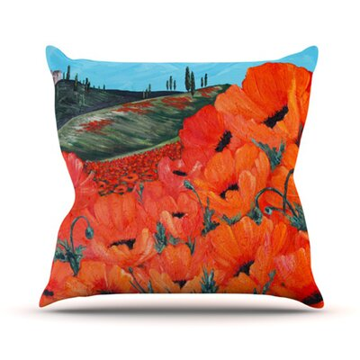 Poppies Throw Pillow Size: 18 H x 18 W