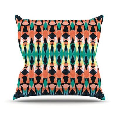 Triangle Visions Throw Pillow Size: 18 H x 18 W, Color: Orange/Blue