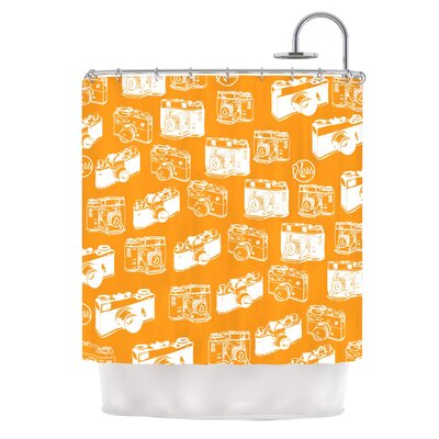 Camera Pattern Shower Curtain Color: Orange
