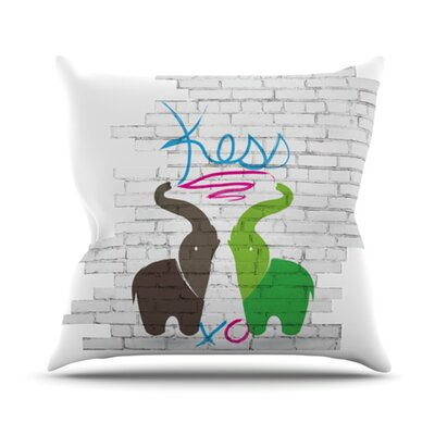 Elephants Throw Pillow Size: 16 H x 16 W x 3.7 D