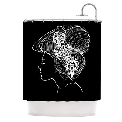 Jennie Penny Shower Curtain Color: Black