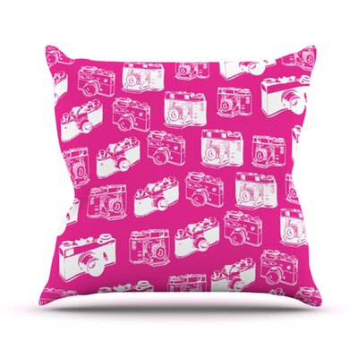 Camera Pattern Throw Pillow Size: 20 H x 20 W 4.5 D, Color: Magenta
