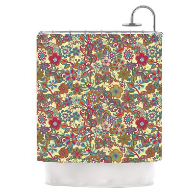 My Butterflies and Flowers Shower Curtain Color: Yellow
