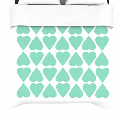 Mint Diamond Hearts by Project M Woven Duvet Cover Size: Queen