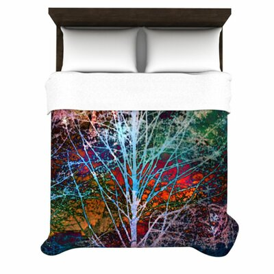 Trees in the Night Woven Comforter Duvet Cover Size: Twin