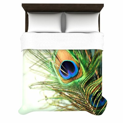 Teal Peacock Feather Woven Comforter Duvet Cover Size: Full/Queen