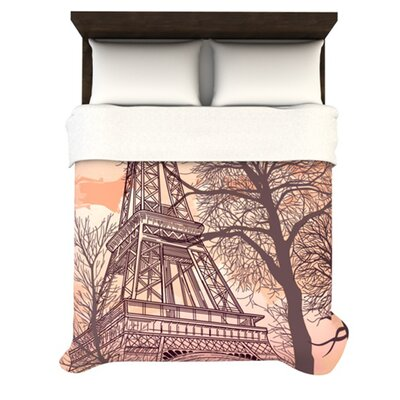 Eiffel Tower Woven Comforter Duvet Cover Size: Twin