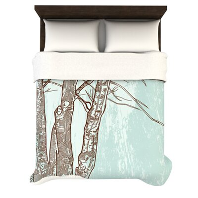 Winter Trees Woven Comforter Duvet Cover Size: Twin