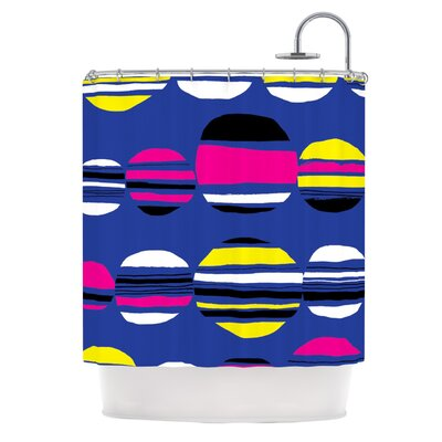 Retro Circles Shower Curtain Color: Cobalt