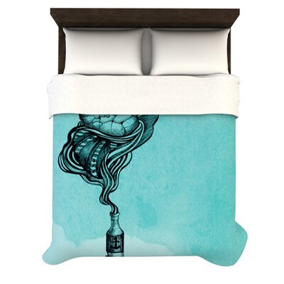 All Aboard Teal Woven Comforter Duvet Cover Size: King