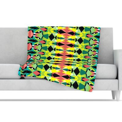 "Kess InHouse Triangle Visions Microfiber Fleece Throw Blanket - Size: 80"" L x 60"" W, Color: Green/Yellow at Sears.com"