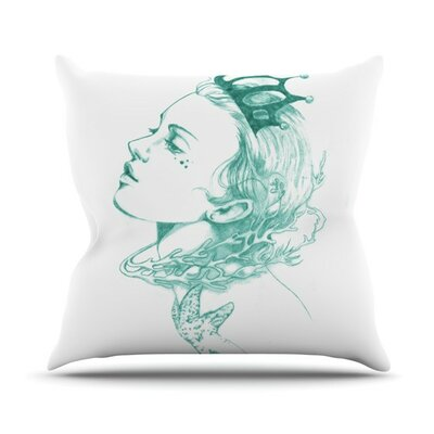 Queen of The Sea Throw Pillow Size: 26 H x 26 W, Color: Green