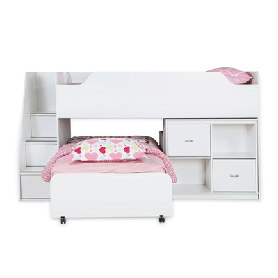 Mobby Twin Loft Bed with Trundle and Storage Finish: White