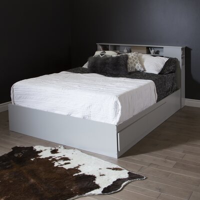 Vito Queen Mates Bed with Storage Color: Soft Gray