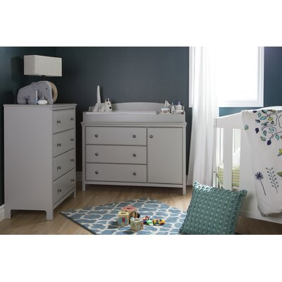 South Shore Cotton Candy Changing Table and 4 Drawers Chest 9020A2